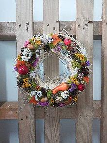 Dekorácie - Slamený jesenný veniec - 11073686_