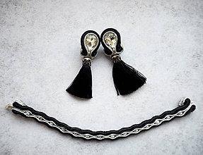 Sady šperkov - Šujtášový set šperkov Čierna Elegancia - 11074215_