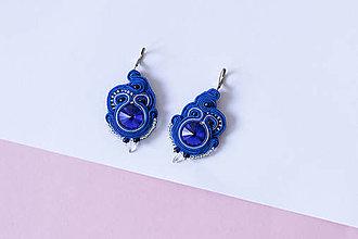 Náušnice - Šujtášové náušnice modré, Ag925 - 11073194_