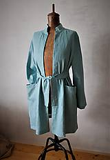 Kabáty - ľanový plášť aqua - 11071768_