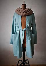 Kabáty - ľanový plášť aqua - 11071772_