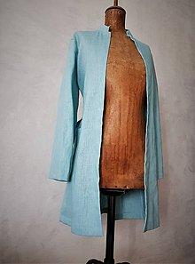 Kabáty - ľanový plášť aqua - 11071767_
