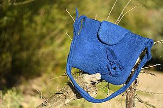 Kabelky - plstená kabelka - modrý kvet - 11073671_