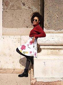 Sukne - Akvarelové kvetinky sukňa - 11072193_