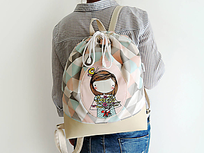 Batohy - Dámsky batoh - dievčatko s kvietkami - 11071921_