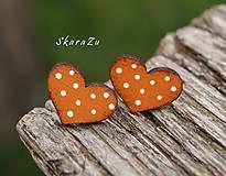 Náušnice - Heart dots mini // Orange - 11073982_