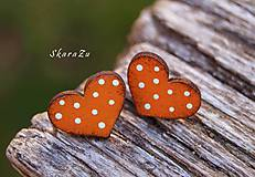 Náušnice - Heart dots mini // Orange - 11074018_