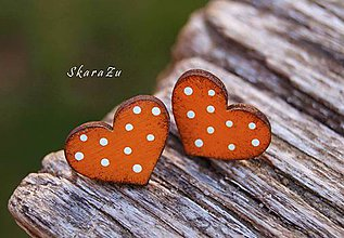Náušnice - Heart dots mini // Orange - 11074018_
