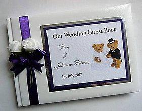 Papiernictvo - Svadobná kniha hostí - medvedíci - 11072728_