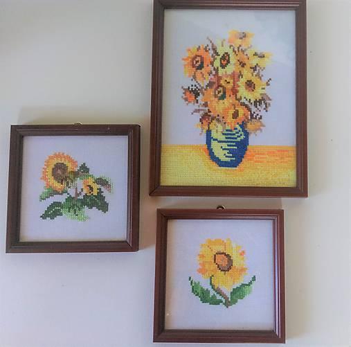 Slnečnice-sada 3 vyšívaných obrázkov