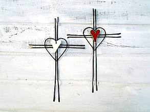 Dekorácie - Tepaný svadobný krížik * biela - 11071711_