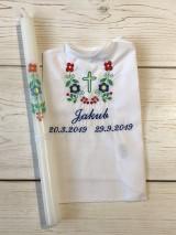 Detské oblečenie - Košieľka na krst k14 + Sviečka na krst folklór - 11073336_