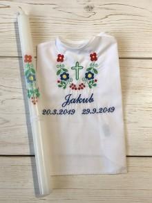 Detské oblečenie - košieľka na krst k14 a Sviečka na krst folklór - 11073336_