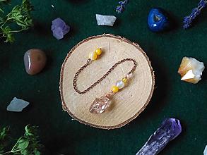 Iné šperky - Žlté kyvadlo (Citrín, Jadeit, Achát) pupočná čakra - 11071895_