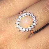 Prstene - Welo Opal Crystal Rose gold Ag925 Ring / Pozlátený strieborný vintage prsteň s opálom /A0035 - 11076079_