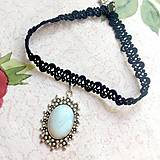 Náhrdelníky - Antique Flower Opalite Choker / Náhrdelník - choker s opalitom - 11076310_