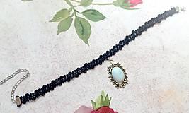 Náhrdelníky - Antique Flower Opalite Choker / Náhrdelník - choker s opalitom - 11076313_