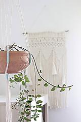 - Makramé držiak na kvetináč ((Breeze) mentolová) - 11076347_