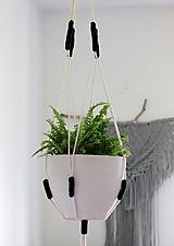 - Makramé držiak na kvetináč ((Nordic) čierna) - 11076364_