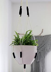 Nádoby - Makramé držiak na kvetináč ((Nordic) čierna) - 11076364_