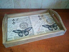 Nádoby - vintage motýľ tácka - 11075249_