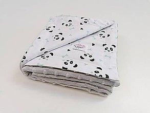 Textil - Minky deka pandy s mentolovými mašličkami + sivá minky 70*100cm - 11075033_