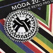 Odznaky/Brošne - brož RITA COCO černobílá - 11074940_