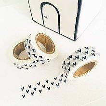 Papier - ozdobná washi páska čierno-biele srdiečka - 11077583_