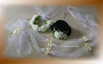 Dekorácie - Kompletná výzdoba svadobného auta  (Béžová) - 11078516_