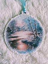 Dekorácie - Vianočné ozdoby - zimná krajinka - 11077704_