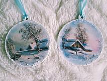 Dekorácie - Vianočné ozdoby - zimná krajinka - 11077705_
