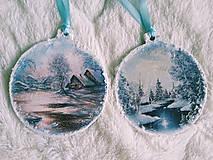 Dekorácie - Vianočné ozdoby - zimná krajinka - 11077706_