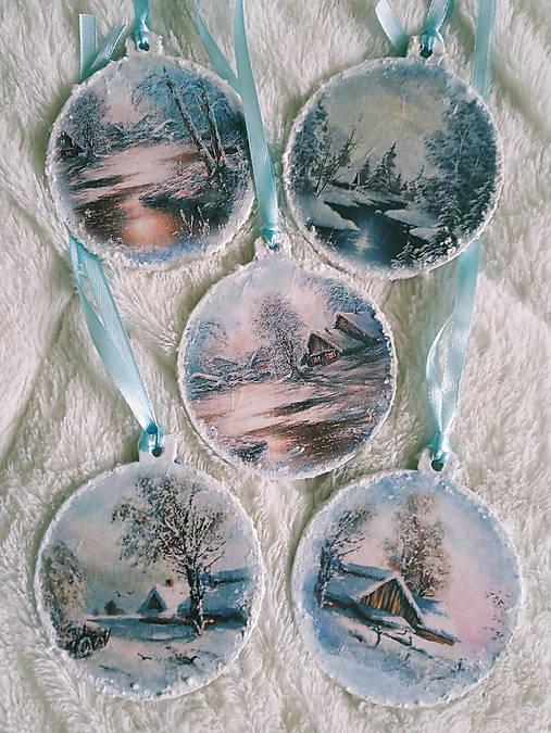 Vianočné ozdoby - zimná krajinka