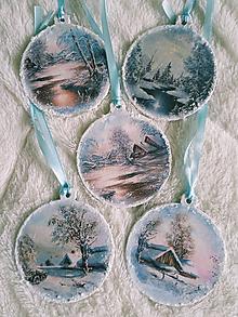 Dekorácie - Vianočné ozdoby - zimná krajinka - 11077703_