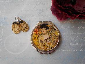 Zrkadielka - Zlatá Adele (zrkadielko + náušničky) - 11074916_
