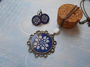 Sady šperkov - Modro-biely ornament VI. - 11077115_