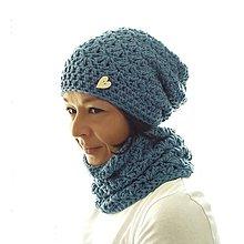 Čiapky - háčkovaný setík modrý - 11074759_