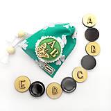 Hračky - Drevené magnetky - ABECEDA (tyrkysová) - 11078179_