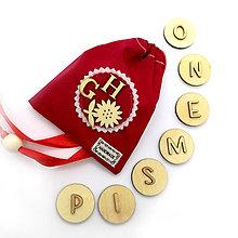 Hračky - Drevené magnetky - ABECEDA (červená) - 11078132_