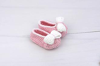 Topánočky - Ružovo-biele baleríny EXTRA FINE - 11076581_