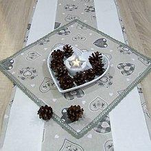 Úžitkový textil - ANTÓNIA - Severské olivové srdiečka - štvorcový obrus 40x40 - 11074418_