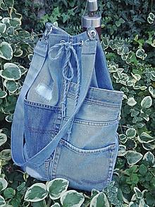 Kabelky - Rifľová taška na šnúrovačku - RECY - 11076051_