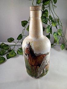 Nádoby - Fľaša koníky na lúke - 11077769_