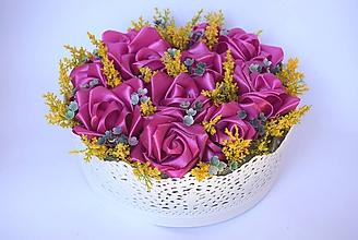 Dekorácie - Saténové ruže v dóze - 11077872_