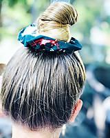Ozdoby do vlasov - Bavlnená elastická gumička scrunchie srnka - 11075516_