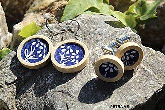 Šperky - MANŽETOVÉ GOMBÍKY - Modrotlačové - 11078281_