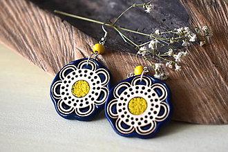 Náušnice - modro-žlté náušnice-kvitnúce - 11075198_