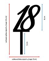 Dekorácie - Zrkadlový zápich na tortu - Číslo (7x13cm) - 11077280_