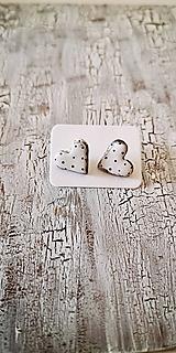 Náušnice - MiDi maľované bodkované srdiečka - 11076370_