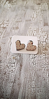 Náušnice - MiDi maľované bodkované srdiečka - 11076374_